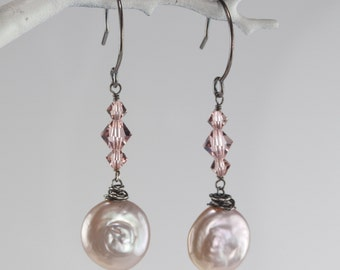 Swarovski Link Earring with Pearl Dangle