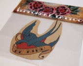 Swallow Temporary Tattoo with 'Be Kind' in the banner