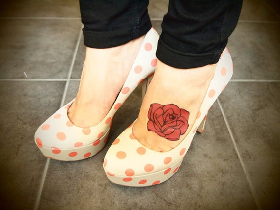 Retro Pink Rose Temporary Tattoo