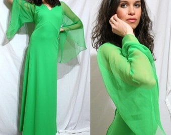Vintage green usa long flowing butterfly sleeve cocktail leslie fay empire waist st. patricks day dress elegant 70's S M