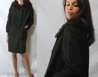 Vintage mink fur collar dark brown suede dress coat swing mod womens S M 60s