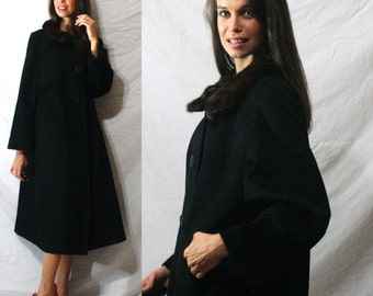 Vintage MINK fur collar brown black Dress button up Coat swing MOD Womens M L 50s