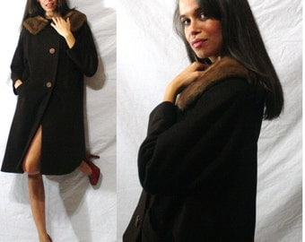 Vintage MINK fur collar brown Dress button up Coat swing MOD Womens S M L 60s