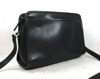 Vintage supple Leather Purse COACH Tote Hand Bag Medium black