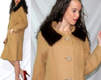 Vintage mink fur collar tan brown dress coat swing mod womens M L 60s 70s