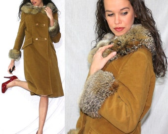 Vintage FOX fur double breasted collar tan brown Dress Coat swing mod Womens S M 80s