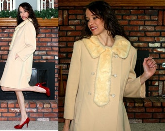 Vintage MINK fur collar double breasted tan blond off white Dress Coat swing mod Womens S M 60s