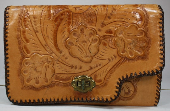 Vintage Retro brown tan hand tooled leather purse hand bag tote flower box shape