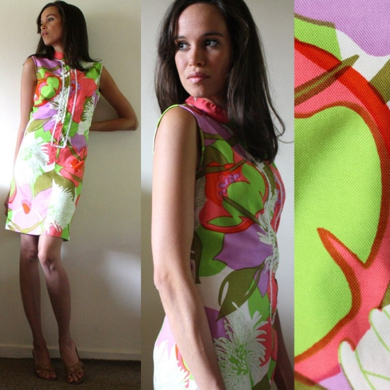 Vintage dress flower multi color purple red play short sleeve green pink zip up cocktail S M 70's