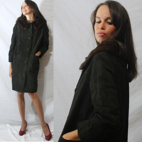 Vintage mink fur collar dark brown suede dress coat swing mod womens S M 60s