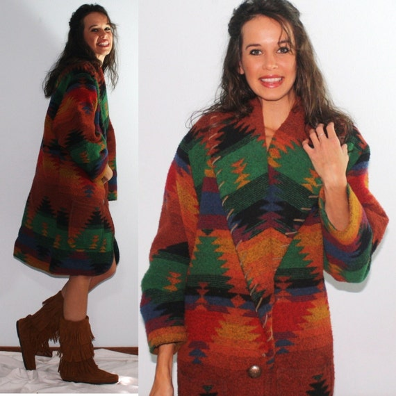 Vintage indian southwestern native american brown multi leather color red blue yellow green black jacket coat M L 70's