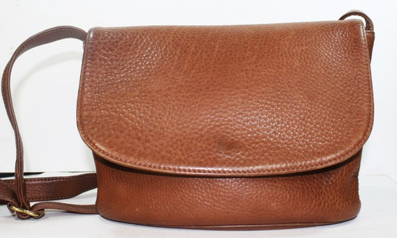 Vintage supple Leather Purse COACH Tote Hand Bag Medium Large Brown textured