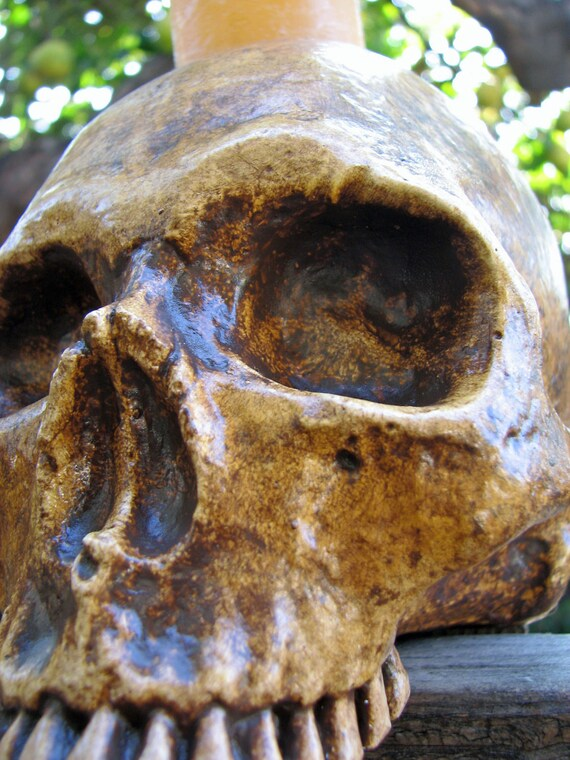Aged Human Skull Candle Holder - Natural Style C