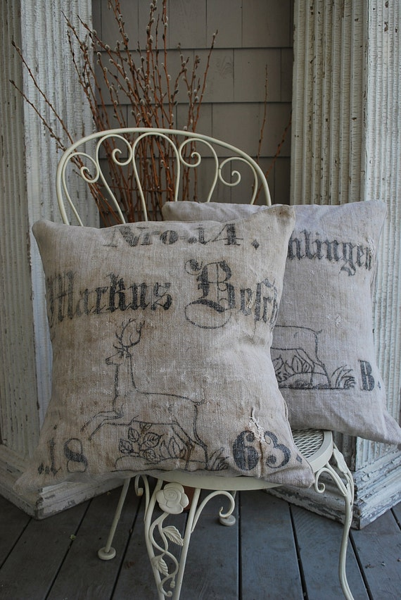 Pillow pair, Reindeer, Antique European linen
