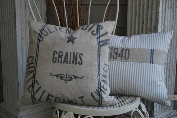 PAIR of pillows from antique French grain bag, grainsack, blue stripe