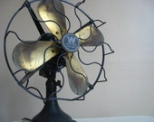Industrial Chic.  Antique / Vintage Westinghouse Fan with Brass Blades.