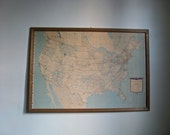 Framed US Map.  Vintage USA Map. 1968