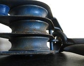 Industrial Chic.  Large Blue Metal Pulley.