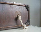 Vintage Wooden Drawer.  Keyhole and Rope Handles.