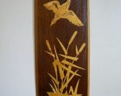 Vintage Wooden Wall Hanging. Flying Bird.