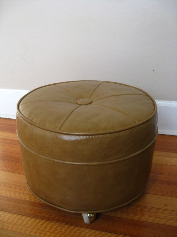 Spicy Mustard Round Foot Stool On Wheels By Funretro On Etsy