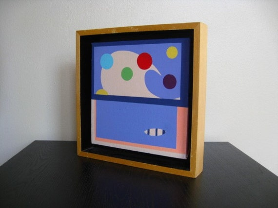 Bold, Graphic, Colorful Painting in a Wooden Frame.