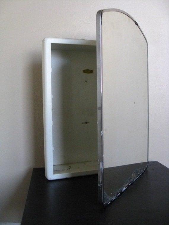 Vintage Metal Bathroom Medicine Cabinet And Mirror By