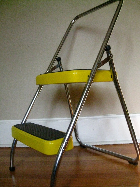 Vintage Golden Yellow and Chrome Cosco Step Stool or Ladder.