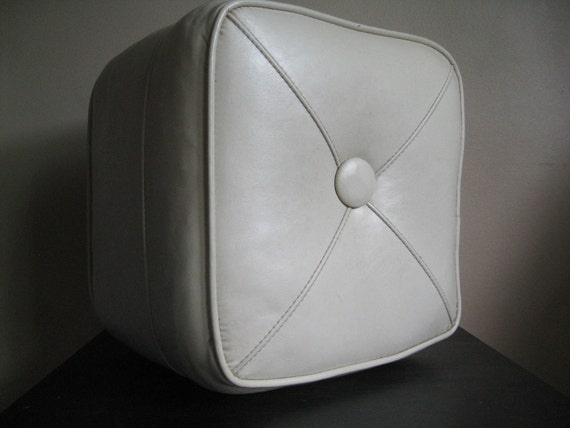 Vintage Off White Square Foot Stool.