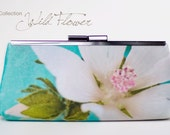 Bridesmaid clutch blue - woman satin handbag - floral print purse -  white flower