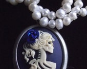 Skeleton Bride Victorian Cameo Necklace with Real Pearls