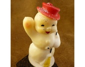 Glittery Waving Snowman Candle - Vintage Wax Candle by Gurley