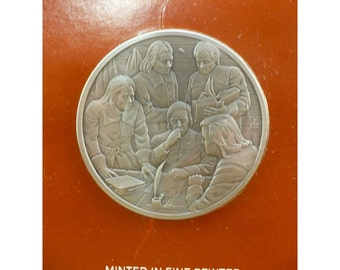 Fundamental Orders of Connecticut Pewter Medal by Franklin Mint - Official History of Colonial America - Vintage Collectible Medal Series