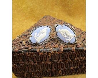 Wedgwood Blue Jasperware Hope and Anchor Sterling Silver Vintage Screwback Earrings by Wedgwood