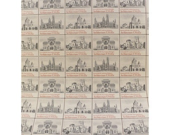 1980 American Architecture - 15 Cent Vintage US Postage Stamps - Sheet of 40 Unused Stamps