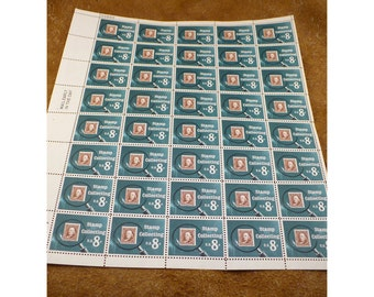 1972 Stamp Collecting Stamps - 8 Cent US Vintage Postage Stamp - Sheet of 40 Unused Stamps