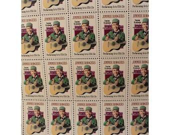 1978 Jimmie Rodgers, The Singing Brakeman - Performing Arts Series - 13 Cent US Postage Stamp - Unused Sheet of 50 - Father of Country Music