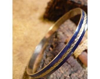 Navy Blue Enameled Brass Thin Vintage Bangle Bracelet