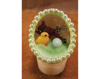 Happy Easter Bunny & Baby Chick Diorama Egg Ornament - Handmade Easter Scene Egg Art Easter Decoration