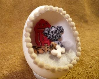 "Little Dogs Diorama Egg Decoration - ""That Little Doggie"" Miniature Dog Scene -  Handmade Diorama Egg Art Dog Egg Ornament"