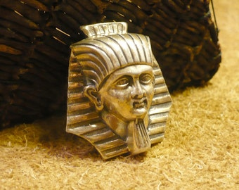 """Sterling Pharaoh Brooch - Golden Sterling Silver """"King Tut"""" Pin by Jewel-Art - Vintage 1920s Egyptian Revival Jewelry"""