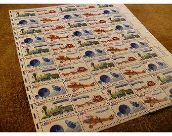 1975 U S Postal Service Bicentennial Issue Postage Stamps - 10 Cent Stamp - Vintage Sheet of 50 Unused US Postage Stamps