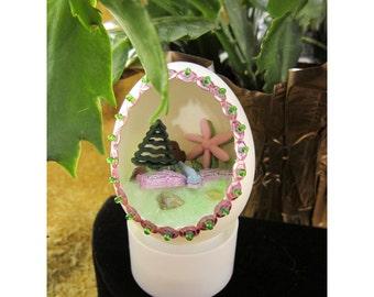Puppys First Spring Handmade Diorama Egg Decoration - Puppy Meets Dragonfly Miniature Scene - Diorama Egg Art Ornament