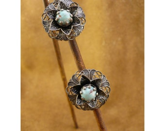 Silver Filigree & Turquoise Screw Back Earrings -  6 Point Star Flower with Turquoise Center on Openwork Disc - Vintage Non Pierced Earrings