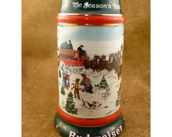 1991 Christmas Budweiser Stein - The Season's Best - Anheuser - Busch Collector Series Holiday Steins - Vintage Bud Beer Collectible Barware