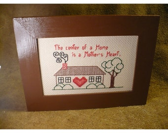 Mother's Heart Handstitched Sentiment - Framed Cross Stitch Saying for Mom - Home with Heart Framed Picture