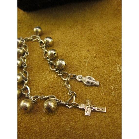 Sterling Silver Decade Rosary Vintage Charm Bracelet