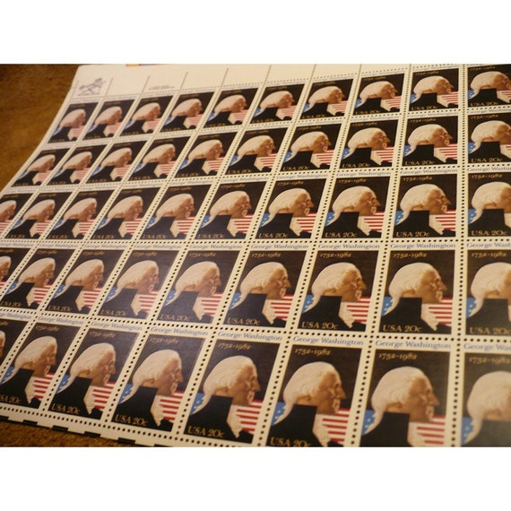 1982 George Washington Postage Stamp - 250th Anniversary Stamp - 20 Cent Stamp - Sheet of 50 Unused Vintage Commemorative US Postage Stamps