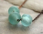 Recycled Glass Necklace, Fair Trade Beads, Light Blue