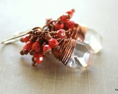 Clear Gemstone Quartz Earrings Wire Wrapped Briolettes Coral Pink Handmade Jewelry